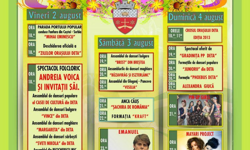 Zilele Orasului Deta, editia a IV-a, 2-4 august 2013