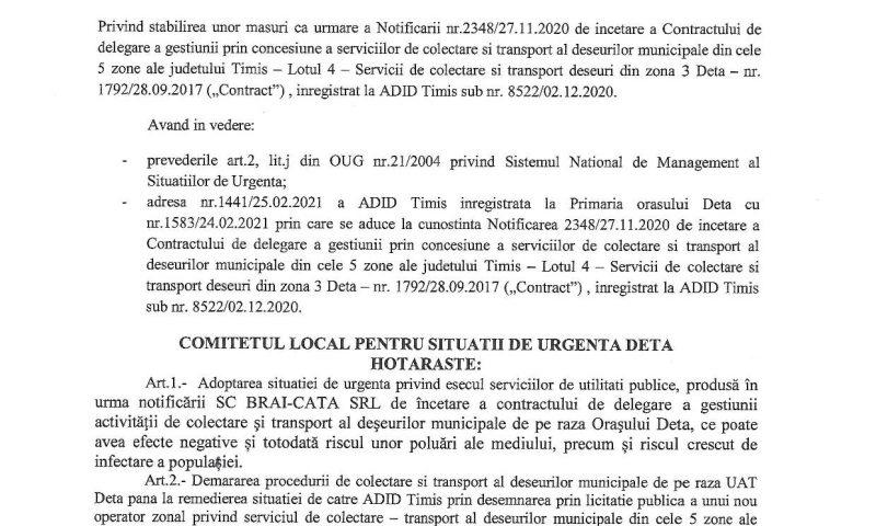 O nouă hotărâre a Comitetului Local pentru Situații de Urgență Deta